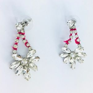New! Sparkling Crystal Statement Earrings Silver